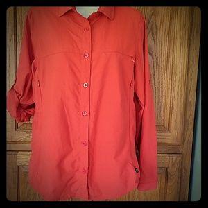 REI orange outdoor/fishing shirt Med